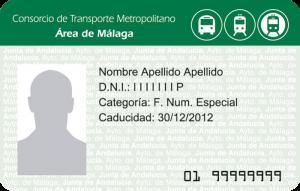 Tarjeta Consorcio Transporte de Familias Numerosas Metro de Málaga