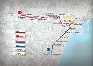 Trazado Líneas Metro de Málaga