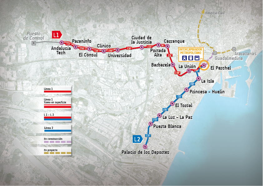 Trazado Líneas de Metro Málaga