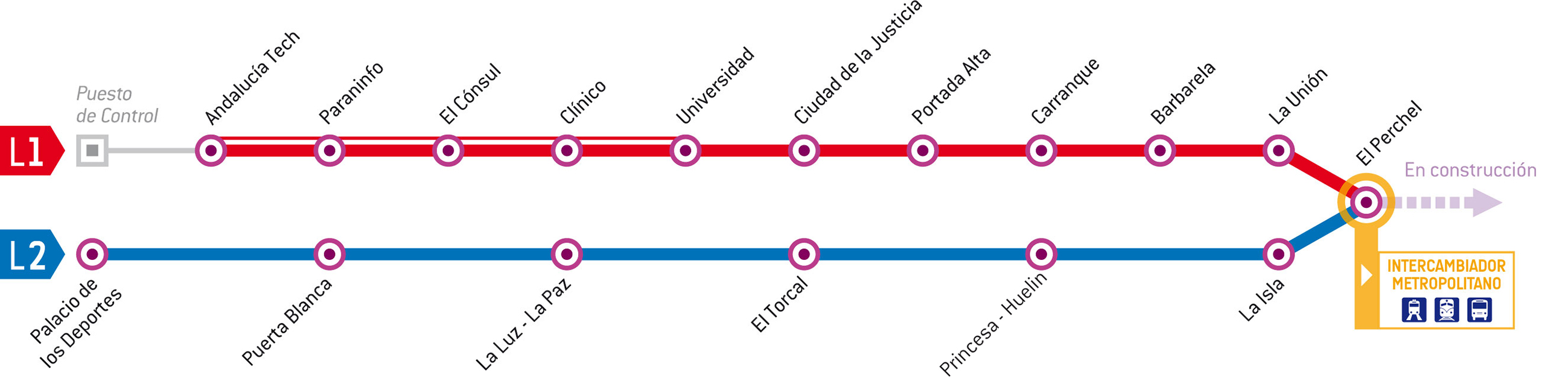 Metro Málaga Lines and Stations Maps