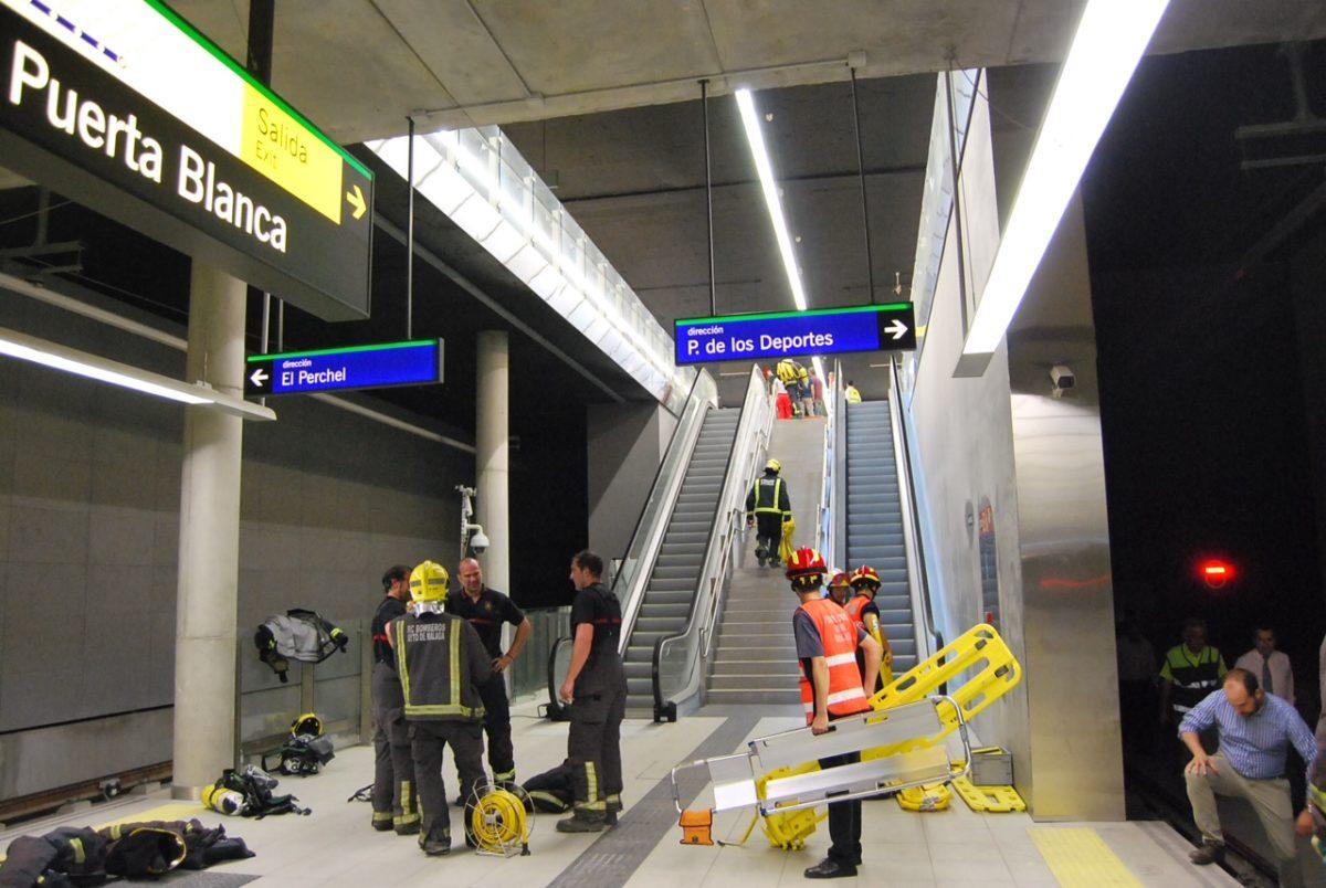 Metro Málaga prueba su Plan de Autoprotección con un ejercicio de emergencia de accidente en la Estación de Puerta Blanca