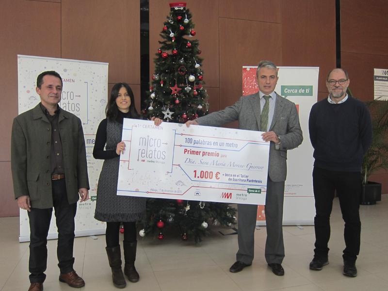 Metro de Málaga entrega los premios del primer certamen   de microrrelatos '100 Palabras en un Metro