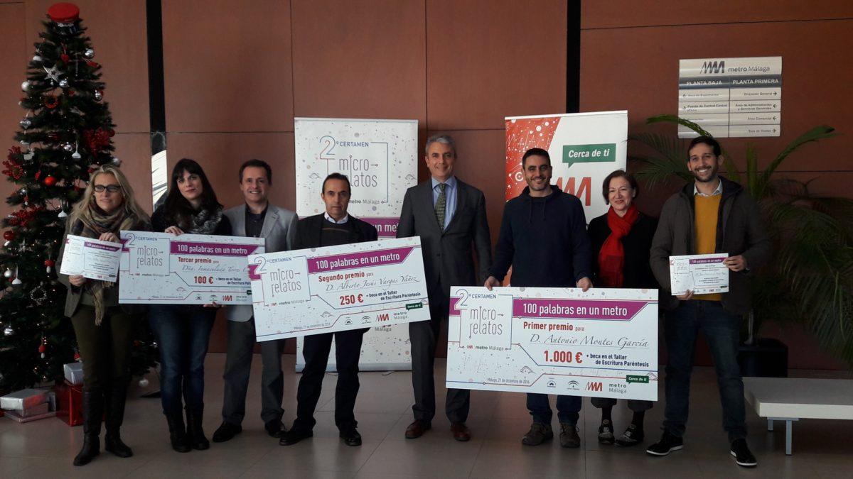 Metro de Málaga entrega los premios del segundo certamen de microrrelatos '100 Palabras en un Metro'