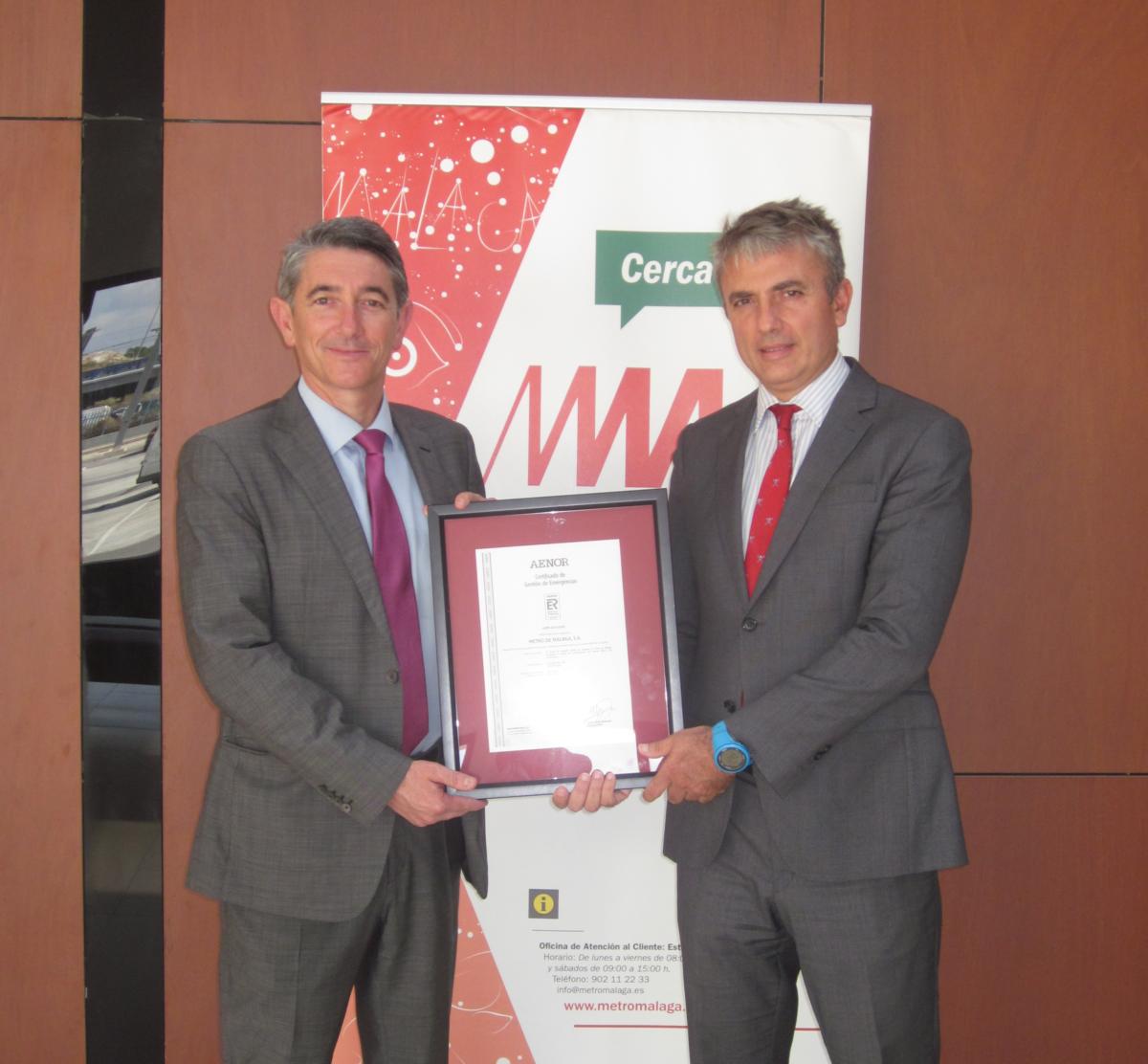 Metro de Málaga avanza en su seguridad con la obtención del certificado de Aenor en gestión de emergencias