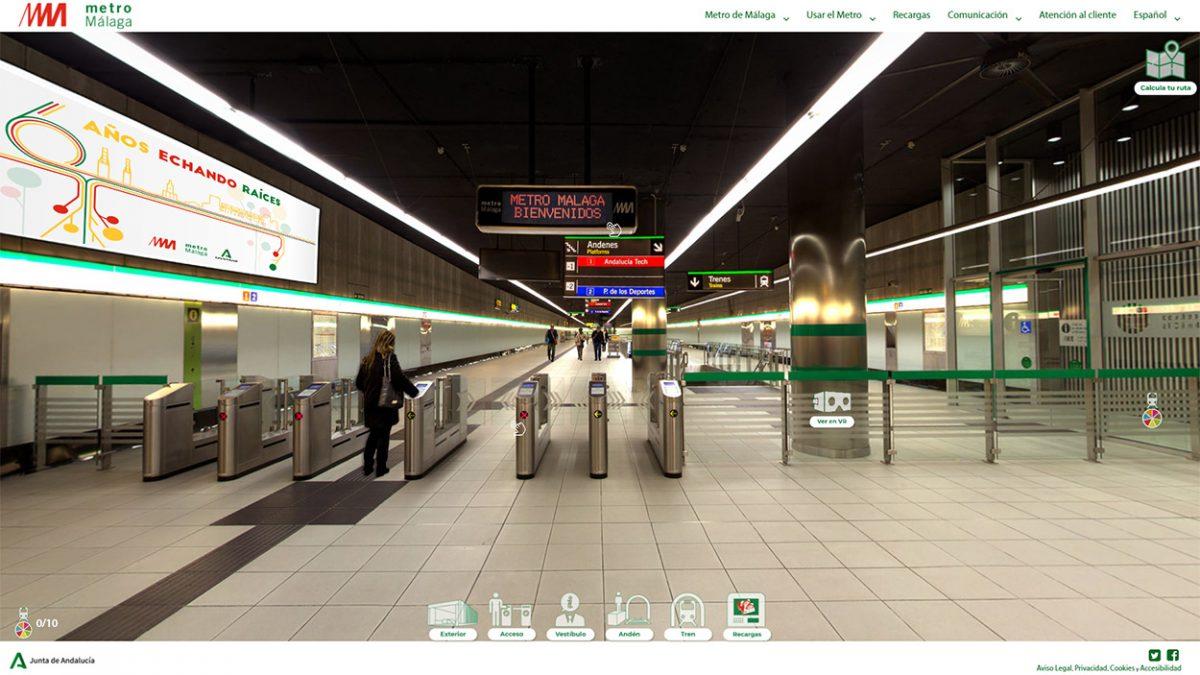 Captura de pantalla de la apariencia de la pagina web de Metro de Málaga